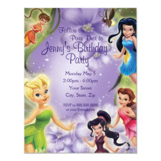 Tinker Bell and Friends Birthday Invitation Custom Invitation