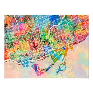 Toronto City Street Map Photo Print
