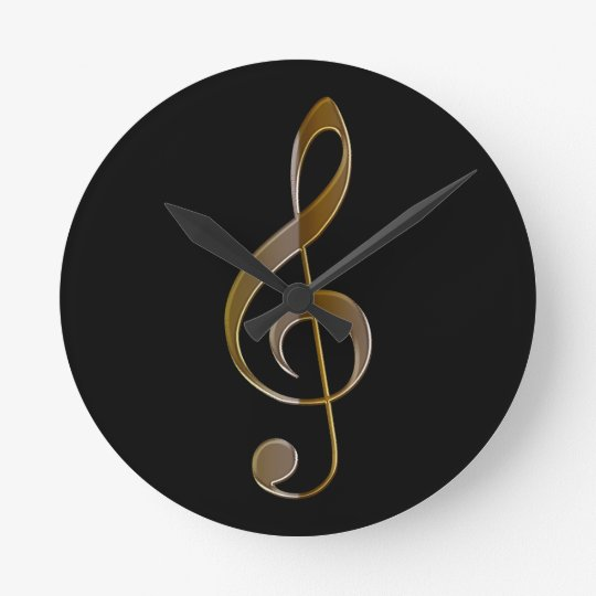Treble Clef Music-themed Wall Clock Zazzle - clef music