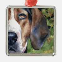 Treeing Walker Coonhound Square Metal Christmas Ornament