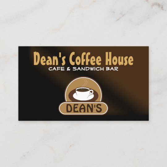 Trendy White Coffee Shop Cup Brown Satin Cafe Business Card Zazzle