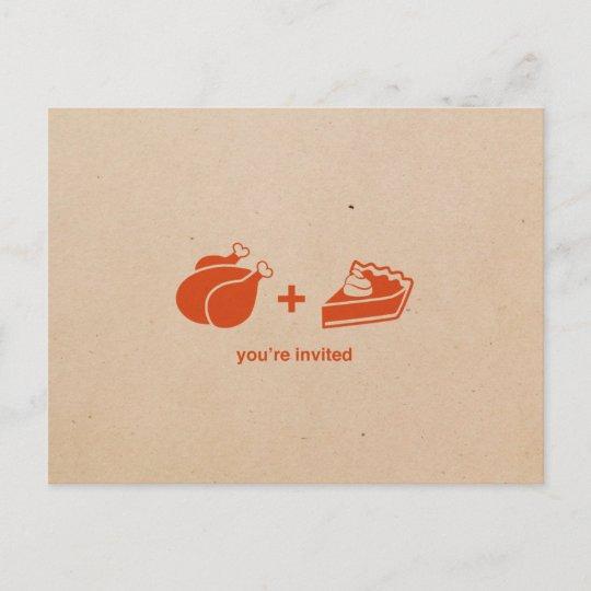 Turkey + Pumpkin Pie Thanksgiving Invitations Zazzle
