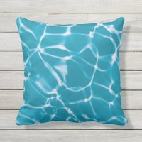 Turquoise Blue Pool-Water Reflections Outdoor Pillow | Zazzle