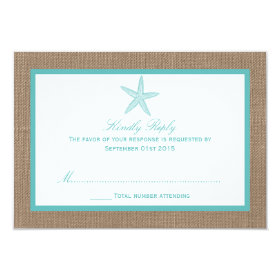 Turquoise Starfish Burlap Beach Wedding Collection 3.5x5 Paper Invitation Card