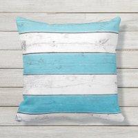 Turquoise & White Striped Outdoor Pillow | Zazzle