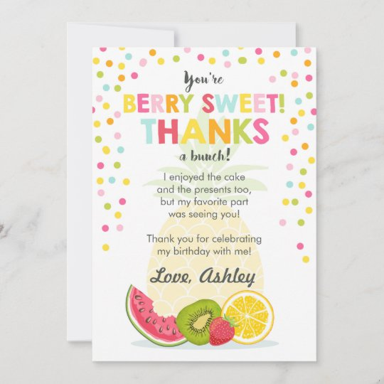 Tutti Frutti Party Fruit birthday Thank You Card Zazzle