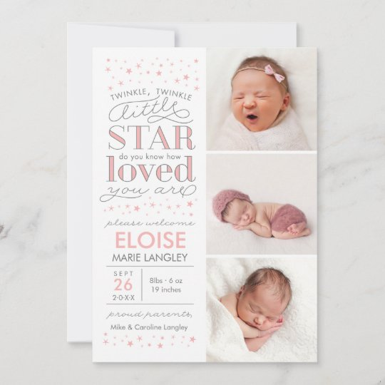 Twinkle Multi Photo Baby Girl Birth Announcement Zazzle - Baby Girl Birth Announcements