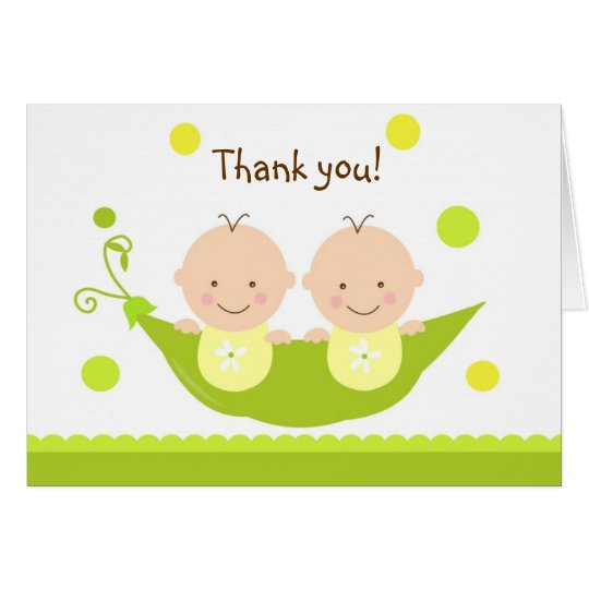 Two Peas in A Pod Baby Shower Thank you note card Zazzle