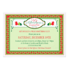 Ugly Christmas Sweater Holiday Party Invitation