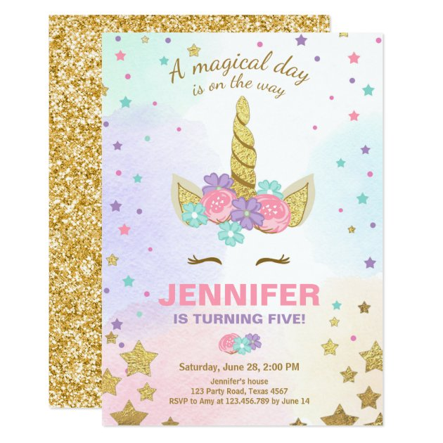 Unicorn Birthday Invitation Pink Gold Magical Zazzlecom