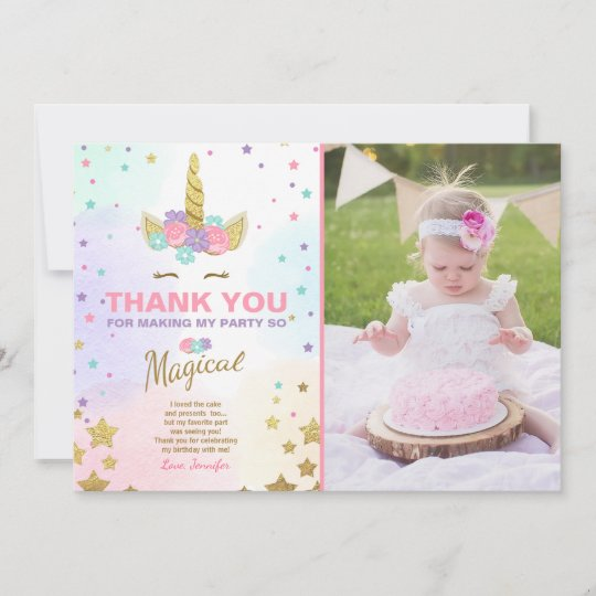Unicorn Birthday Thank you card Pink Gold Magical Zazzle