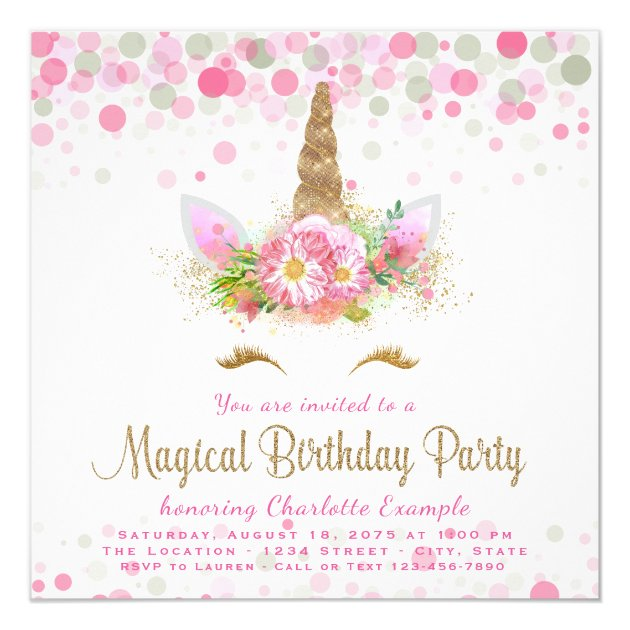 Unicorn Face Girls Birthday Party Invitations Zazzlecom