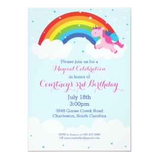 Unicorn Rainbow Invitation Custom Invites