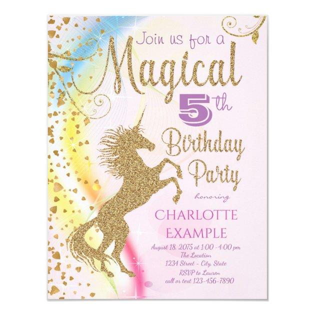 Unicorn Rainbow Magical Birthday Party Invitations