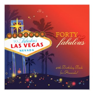 Unique 40th Las Vegas Birthday Party Invitations