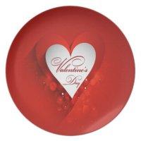 Valentine's Day White Heart Dinner Plate | Zazzle