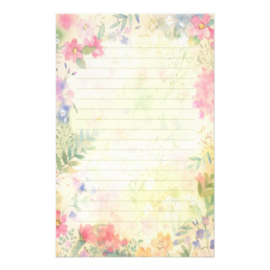Very Pretty floral Lined Stationery Paper Zazzle - lined stationery paper
