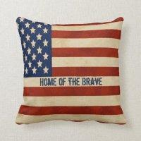 Vintage American Flag Pillow | Zazzle