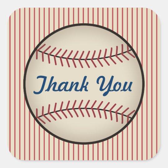 Vintage Baseball Thank You Stickers