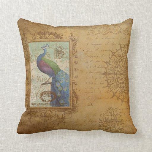 """Vintage Birds Throw Pillow 16"""" x 16"""""""
