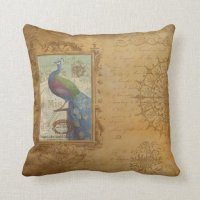 "Vintage Birds Throw Pillow 16"" x 16"" 