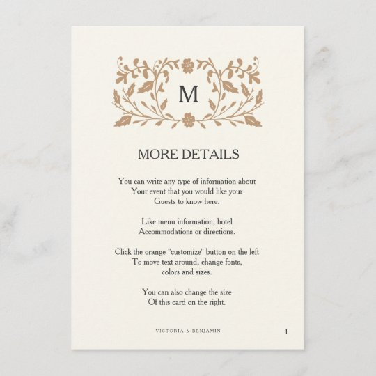 Vintage Chapter Page Wedding Insert Card Zazzle