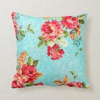 Vintage Cottage Red Rose Floral Decorative Pillow | Zazzle