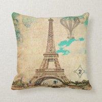 Vintage Eiffel Tower Pillow   Zazzle