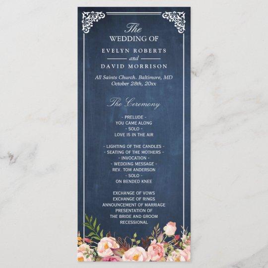 Vintage Floral Blue Chalkboard Wedding Program Zazzle