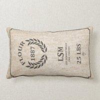 Vintage Flour Sack Pillow | Zazzle