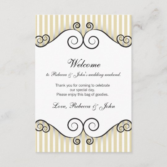 Vintage Gold Striped Wedding Welcome Card Zazzle