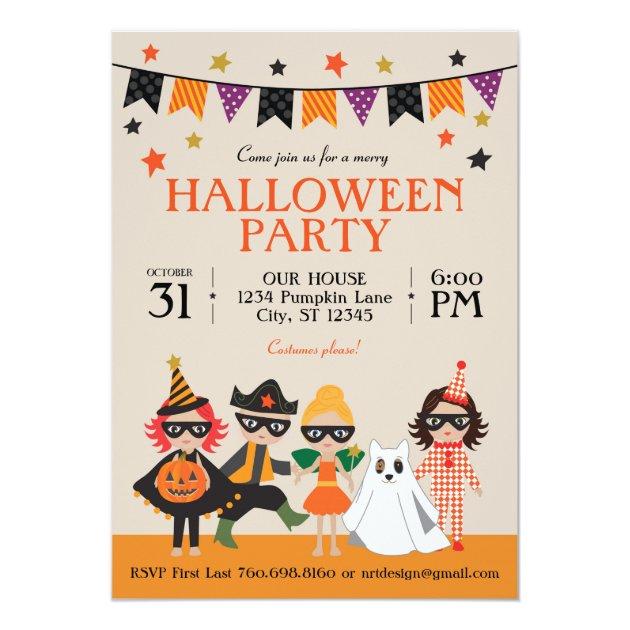 Vintage Kids Halloween Party Invitation Zazzlecom