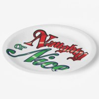 Vintage Naughty or Nice 9 Inch Paper Plate