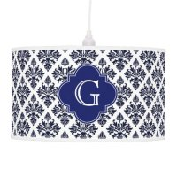 Vintage Navy Blue White Damask #3 Monogram Hanging Pendant ...