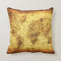 Vintage Old Gold World Map Decor Cushion Pillow | Zazzle