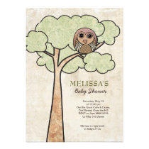 Vintage Owl in Tree Baby Shower Party Invite