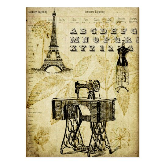 Retro Postkarten Vintage Paris Eiffel Tower Dress Form Postcard | Zazzle.com