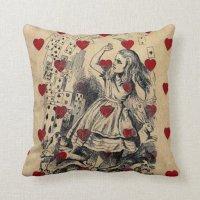 Vintage retro chic Alice in wonderland art Throw Pillow ...