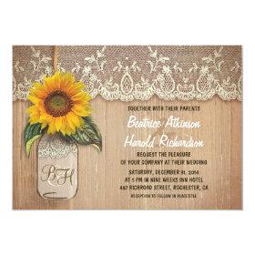 vintage rustic sunflower mason jar wedding 5x7 paper invitation card