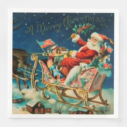 Vintage Santa Claus Sleigh Christmas Holiday Paper Dinner