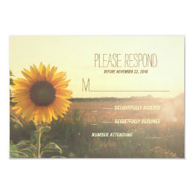 vintage sunflower wedding RSVP cards