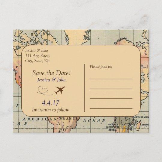 Vintage, Travel Wedding Save the Date Postcard Zazzle - save date postcard
