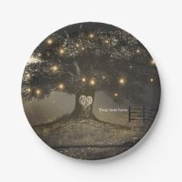 Vintage Tree & Night Lights Wedding Reception Paper Plate ...