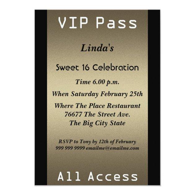 Vip Pass Sweet 16 Birthday Party Invitation Zazzlecom