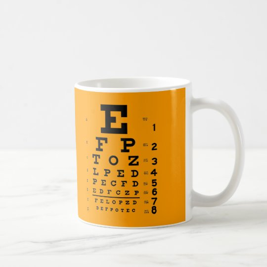 Visual Acuity Test Retro Ophthalmology Eye Chart Coffee Mug