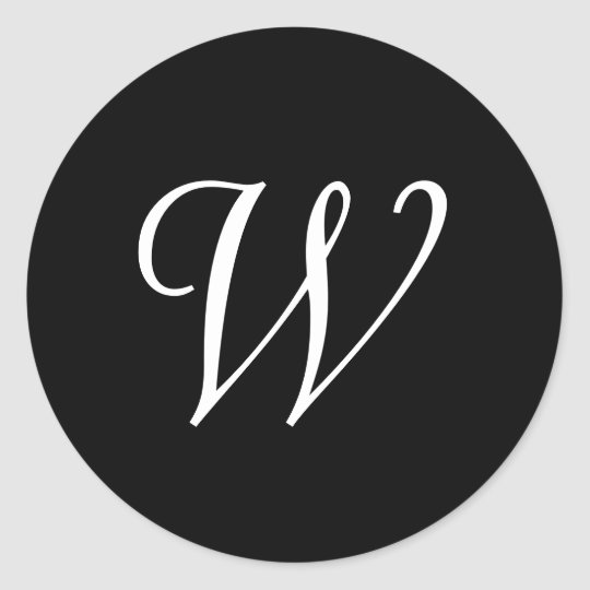 W Cursive Wedding Monogram Black White Stickers Zazzle