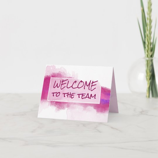 Watercolor Abstract Welcome to the Team Card Zazzle