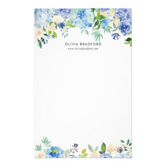 Watercolor Blue Hydrangeas Personalized Stationery Zazzle