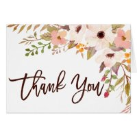 Watercolor Bohemian Flowers Thank You Card | Zazzle.com