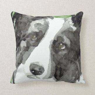 Watercolor Border Collie Gifts Throw Pillow